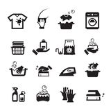 Laundry washing icons set Stock Photography