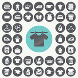 Laundry And Washing icons set. Stock Photos