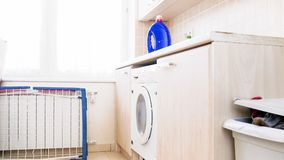 Empt laundry with washing machin in house basement. Laundry with washing machin in house basement Royalty Free Stock Photos