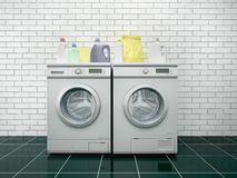 Laundry. Washing machine and dryer. 3d illustration royalty free illustration