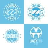 Laundry, washing service set of vector logo, icon, symbol, emblem Royalty Free Stock Images