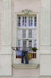 Laundry in the window Royalty Free Stock Image