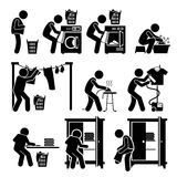 Laundry Works Washing Clothes Clipart. Set of vector stick man pictogram representing the laundry washing process. This includes throwing the dirty clothes into Royalty Free Stock Photos