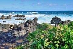 Laupahoehoe海滩公园在夏威夷的大岛 免版税库存照片