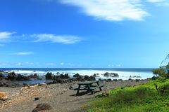 Laupahoehoe beach park stock photo
