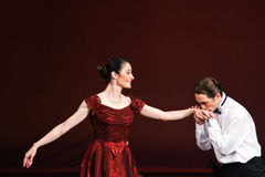 Laura Blica Toader and Vlad Toader performing. Laura Blica Toader and Vlad Toader, prime ballet dancers performing on the Romanian National Opera stage as guest Stock Image