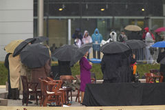 Laura Bush and others on stage during the grand opening ceremony of the William J. Clinton Presidential center in Little Rock, AK  Stock Photography