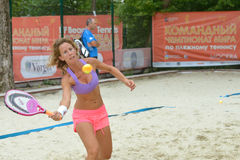 Laura Galli sul mondo Team Championship di beach tennis Fotografie Stock