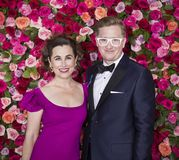 Laura Worsham and Kyle Jarrow at 2018 Tony Awards. Previous Tony nominee Laura Worsham and author Kyle Jarrow arrive on the red carpet for the 72nd Annual Tony Royalty Free Stock Images
