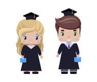 Laureati della ragazza e del ragazzo royalty illustrazione gratis