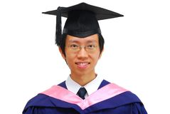 Laureato asiatico felice e giovane dell'allievo Fotografie Stock Libere da Diritti