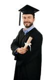 Laureato felice del maschio con il diploma isolato su bianco Fotografia Stock