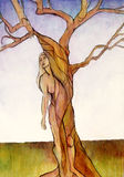Laurel. A painting of Laurel from Greek Mythology who became a tree in order to avoid marrying the god Appollo stock illustration