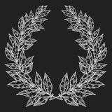 Laurel Bay white black leaf Hand drawn vector illustration. Vintage decorative laurel wreath. Royalty Free Stock Images