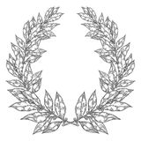Laurel Bay white black leaf Hand drawn vector illustration. Vintage decorative laurel wreath. Royalty Free Stock Photo