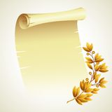 Laurel branch and a scroll. Vector illustration Royalty Free Stock Image