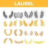 Laurel Branches Wreath Vector Color Icons Set stock photos