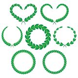 Laurel branches. And wreaths. A set of decorative elements, isolated on white. Vector illustration Stock Images