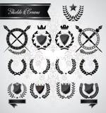 Laurel, coronas y escudos del vintage foto de archivo