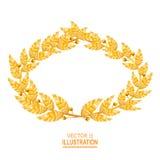 Laurel Crown Grekisk krans med guld- sidor också vektor för coreldrawillustration royaltyfri illustrationer