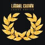 Laurel Crown Grinalda grega com folhas douradas Ilustração do vetor ilustração stock