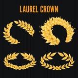 Laurel Crown Set. Greek Wreath With Golden Leaves. Vector Illustration Royalty Free Stock Images
