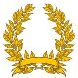 Laurel de oro con el ejemplo dibujado mano del vector de la hoja de laurel de la cinta Fotografía de archivo libre de regalías