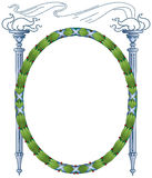 Laurel Frame Torches. Classical Greek or Roman laurel wreath frame wrapped with silver blue metallic ribbons green leaf and red holly berries flanked by two royalty free illustration