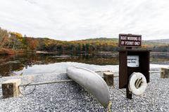 Laurel Lake Recreational Area in Pine Grove Furnace State Park i. N Pennsylvania during fall royalty free stock images