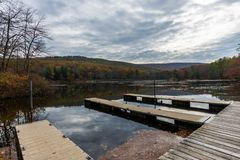 Laurel Lake Recreational Area in Pine Grove Furnace State Park i. N Pennsylvania during fall royalty free stock image