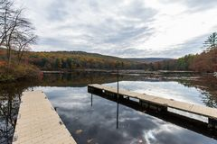 Laurel Lake Recreational Area in Pine Grove Furnace State Park i. N Pennsylvania during fall stock images