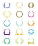 Laurel Leaf Wreath Colored Set Collection Colorful Stock Photos