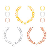 Laurel Leaf Wreath Precious Metal Set Stock Images