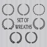 Laurel leaves and spikelets. Vector set  of wreaths with laurel leaves and spikelets Stock Photography