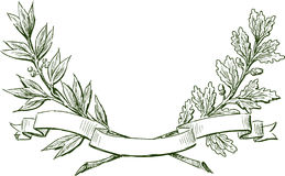 Laurel and oak branches with ribbon Stock Photos
