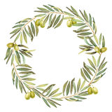 Laurel olive watercolor wreath Royalty Free Stock Images