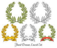 Laurel set with red ribbon Bay leaf Hand drawn vector illustration.. Vintage decorative laurel wreath. Sketch design elements. Perfect for invitations, greeting Stock Photos