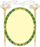 Laurel Torch Frame. Two vintage classical Greek or Roman torches with stylized smoke and flames flank a laurel wreath frame wrapped with gold metallic ribbons stock illustration
