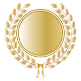 Laurel wreath. Golden laurel wreath with medal and a satin bow Stock Image