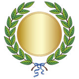 Laurel wreath. Green laurel wreath with golden medal and blue ribbon Stock Photos