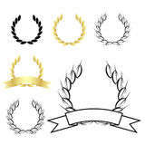 Laurel wreath. Set of six laurel wreaths isolated on white background.EPS file available stock illustration