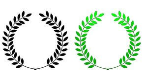 Laurel wreath. Illustration of green and black laurel wreath isolated on white background royalty free illustration
