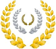 Laurel wreath. Gold, silver, bronze Royalty Free Stock Image
