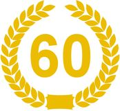 Laurel Wreath 60 Years. Illustration of a yellow laurel wreath surrounding the number 60. Isolated against a white background stock illustration