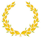 Laurel wreath. Golder laurel wreath with green olive leafs Stock Image