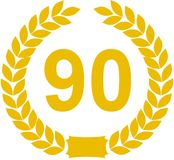 Laurel Wreath 90 Years. Yellow illustration of a horseshoe shaped laurel wreath, surrounding the number 90. Isolated against a white background Royalty Free Illustration