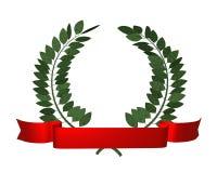 Laurel wreath. 3d illustration of a laurel wreath and red ribbon royalty free illustration