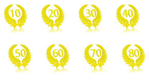 Laurel wreath anniversary part1. Set of laurel wreath anniversary Royalty Free Stock Images