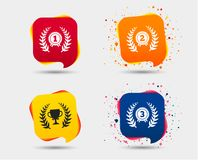 Laurel wreath award icons. Prize cup for winner. Laurel wreath award icons. Prize cup for winner signs. First, second and third place medals symbols. Speech Stock Photos