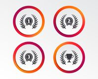 Laurel wreath award icons. Prize cup for winner. Laurel wreath award icons. Prize cup for winner signs. First, second and third place medals symbols Stock Images